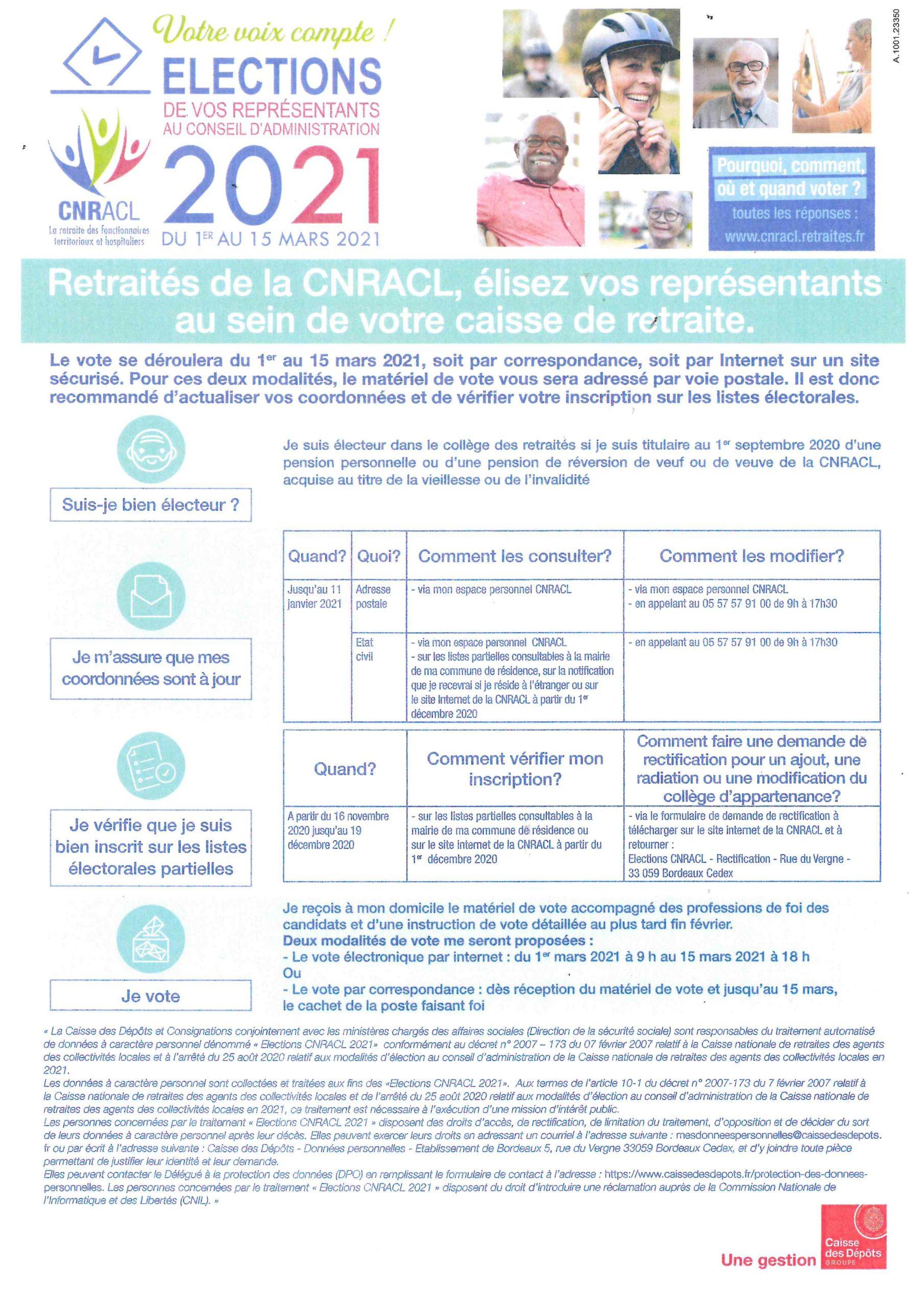 Avis Aux Retraités De La CNRACL – ELECTIONS DE VOS REPRESENTANTS